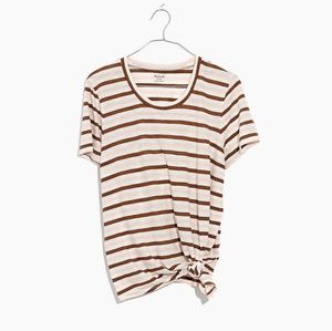 Madewell knot front tee Myers stripe sz M NWT